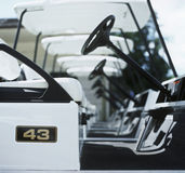 Row of golf carts Stock Images