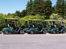 Row of golf carts Stock Photos