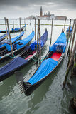 Row of gondolas docked to the poles on the Grand Canal Royalty Free Stock Photo