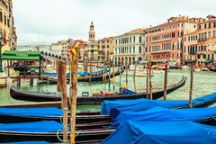 Row of gondolas in Venice Stock Photo