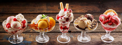 Row of gourmet ice-cream desserts Royalty Free Stock Image
