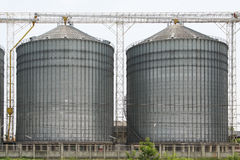 Row of granaries for storing wheat and other cereal grains, Agricultural Silo and  kept production from agriculture Stock Images