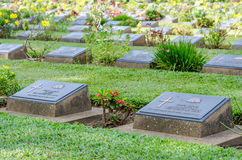 Row of grave stone in War Cemetery Stock Image
