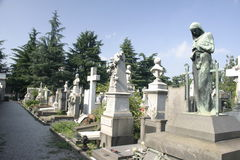 Row of gravestones in Milan Stock Image