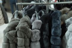Row of gray fur coats on the rack, clothing shop Royalty Free Stock Images