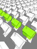 "Row of green ""ecological"" houses. Row of green ""ecological"" houses standing out from others Stock Image"