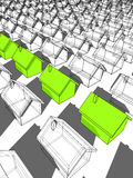 "Row of green ""ecological"" houses. Row of green ""ecological"" houses standing out from others Royalty Free Stock Photography"
