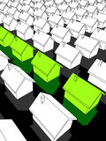 "Row of green ""ecological"" houses. Row of green ""ecological"" houses standing out from others Royalty Free Stock Photo"