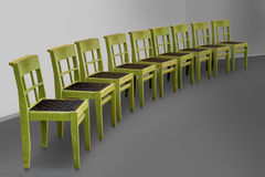 Row of green chairs Royalty Free Stock Photos
