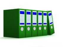 Row of green folders with documents Stock Image