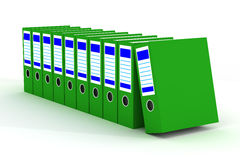 Row of green folders with documents Royalty Free Stock Photos