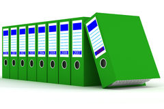 Row of green folders with documents Royalty Free Stock Image