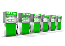 Row of Green Gas Pumps Stock Photo