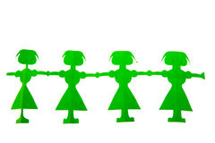 Row of green paper dolls Royalty Free Stock Images