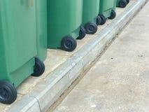 Row of green plastic bin. At thailand Royalty Free Stock Photos