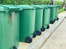 Row of green plastic bin. At thailand Royalty Free Stock Image