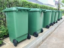 Row of green plastic bin. At thailand Royalty Free Stock Photography