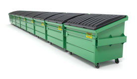 Row of green recycle dumpster Stock Image