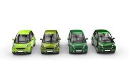 Row of Green Small Cars Royalty Free Stock Photo