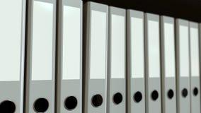 Row of grey office binders. 3D rendering. Line of gray office binders Stock Image