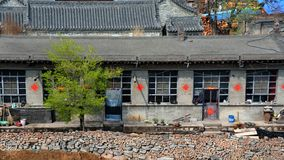 A row of grey old folk houses in the northern small town of China Royalty Free Stock Image