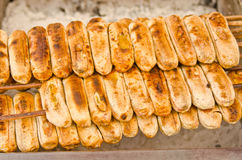 Row of grilled banana,Thai's dessert Stock Image