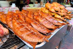 Row of grilled fish and hens, street market Royalty Free Stock Photography