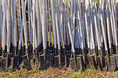 Row ground shovels Stock Photos