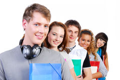 Row of group students royalty free stock images