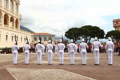 Row of guards near Prince`s Palace, Monaco City royalty free stock image