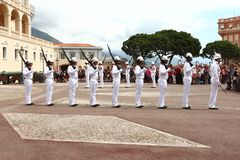 Row of guards, Prince`s Palace, Monaco City stock photos