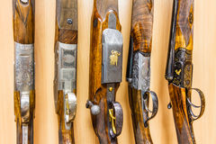 Row of guns in shop Royalty Free Stock Images