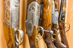 Row of guns in shop Stock Photo