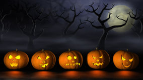 Row of Halloween pumpkins in a spooky forest at night Stock Photography