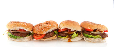 Row hamburger Stock Photography