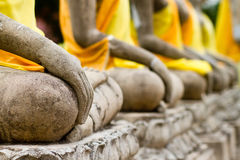 Row hand of buddha monument at ayutthaya Royalty Free Stock Images