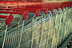 Row of  handcarts Royalty Free Stock Image