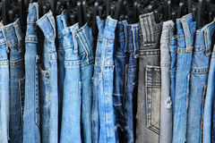 Row of hanged jeans Stock Photography