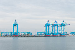 Row of harbor cranes. Row of large harbor cranes in the rotterdam harbor royalty free stock photo