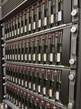 Row of hard drives. Mounted in a rack in a data center Royalty Free Stock Photos