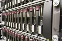 Row of hard drives Stock Photo