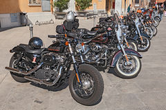 Row of Harley Davidson motorbikes Stock Images