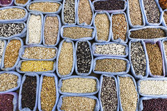 Row of healthy grain food and different kind mix of seed set background. In the local Turkish market stock images