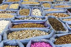 Row of healthy grain food and different kind mix of seed set. Closeup background stock photo
