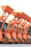 Row of heavy construction excavator machine Royalty Free Stock Photos