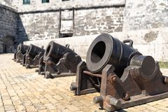 A row of heavy short-range cannons royalty free stock photos