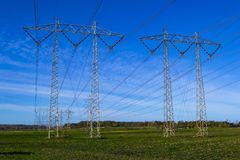High voltage power lines in Sweden. royalty free stock image