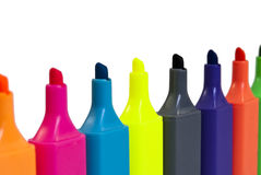 Row of Highlighter Pens Stock Image