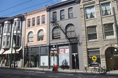 Row of Historic buildings in Gastown Stock Photos