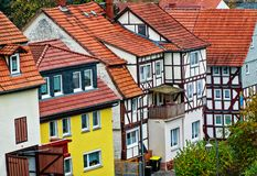 A row of historic houses in the old town of Schlitz Vogelsberg, Germany. A row of historic german houses in the old town of Schlitz Vogelsberg. Schlitz is known Stock Photo